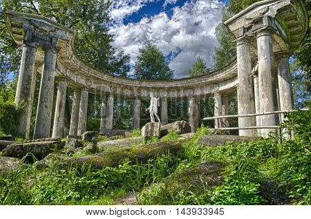 Apollo's colonnade. The architectural monument established in Pavlovsk Park(Russia).