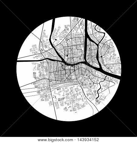 3d illustration of city topography in black & white