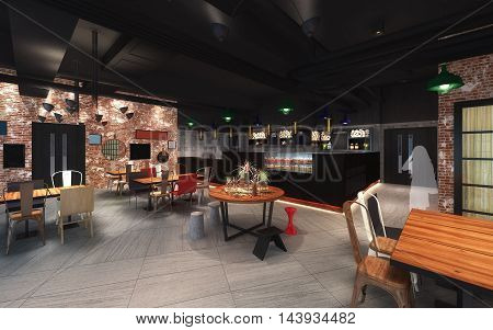 3d illustration of loft style canteen design