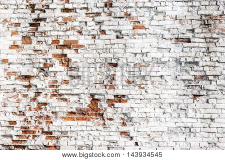 Old grungy vintage weathered background texture. Retro stained painted aged brick wall.