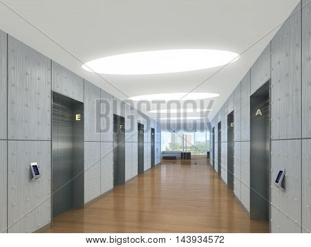 3d illustration of an elevator lobby, office tower