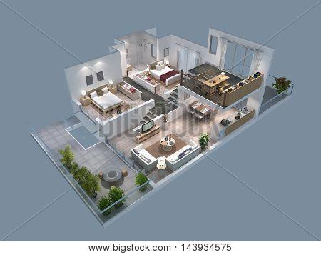 3d illustration of a isometric villa plan