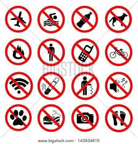 Set ban icons Prohibited symbols red signs