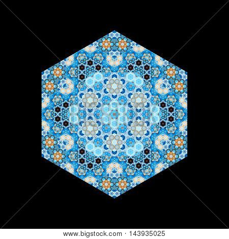 Hexagonal luxury oriental tile seamless mandala pattern isolated on black computer generated abstract background