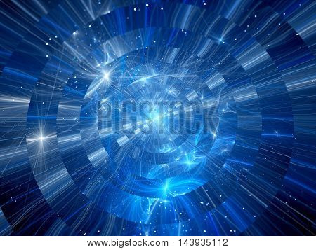 Blue glowing intersteallar travel in space computer generated abstract background