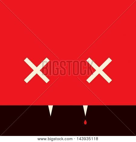 Minimalistic picture vampire for Halloween holiday, vector design