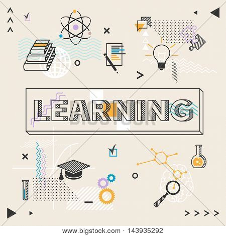 Learning concept. Inscription and education background.