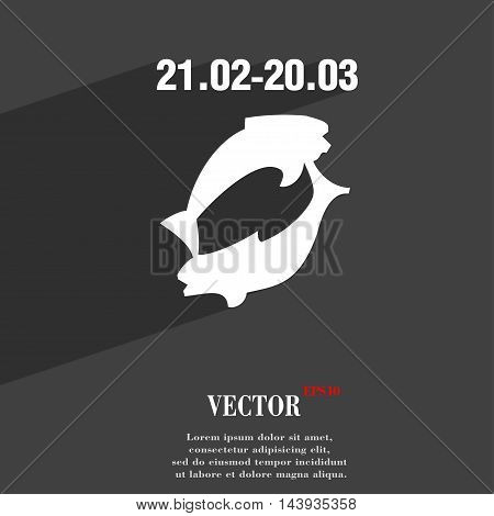 Pisces Zodiac Sign Symbol Flat Modern Web Design With Long Shadow And Space For Your Text. Vector