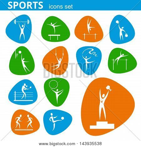 Isolated symbols set for sport event. Olympic games pictograms.