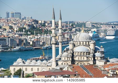 ISTANBUL TURKEY - JUNE 20 2015: New Mosque in the Eminonu district in the city of Istanbul Turkey