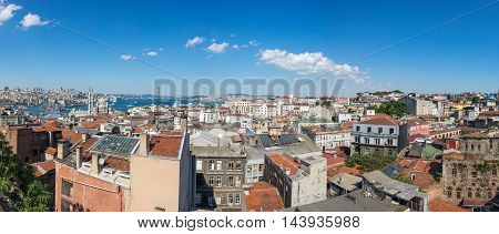 Panoramic view of Bosphorus european and asian parts of Istanbul Turkey
