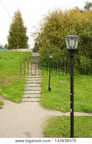 Stairway winds up in the autumn park in Petrozavodsk Russia