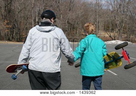 Senior Couple About To Go Skateboarding!