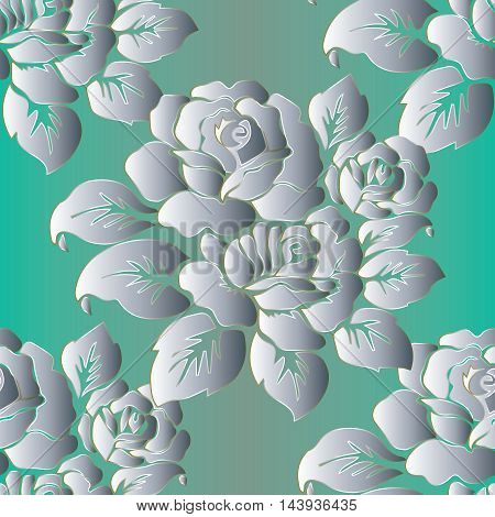 Elegant floral vector seamless pattern background with vintage white  flowers and ornaments on the light green  Stylish  illustration and 3d vintage decor elements with shadow and highlights. Endless elegant  texture.