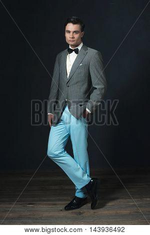 Retro 1920S Fashion Man Wearing Bow Tie.
