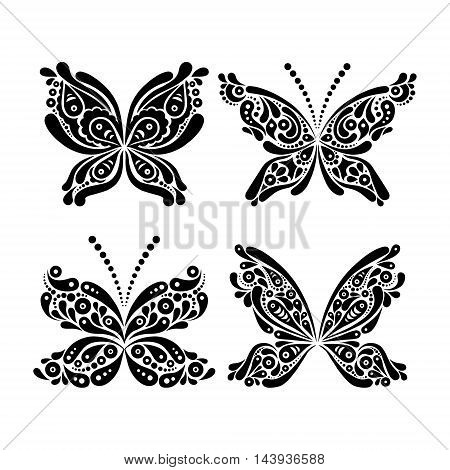 Set of beautiful black and white butterfly tattoo