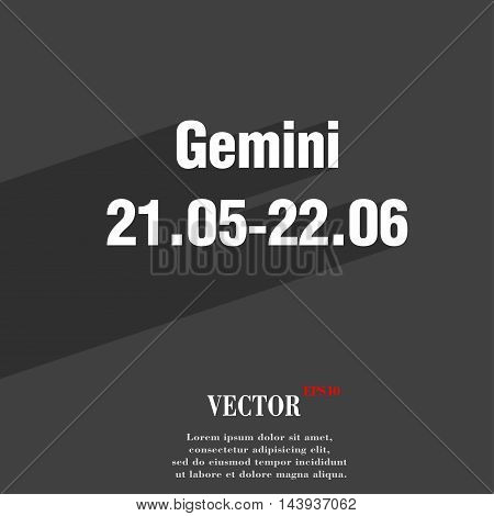 Gemini Symbol Flat Modern Web Design With Long Shadow And Space For Your Text. Vector