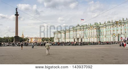 St. Petersburg, Russia - 13 August, The crowd of bikers on the Palace Square,13 August, 2016. The annual International Motor Festival Harley Davidson in St. Petersburg.