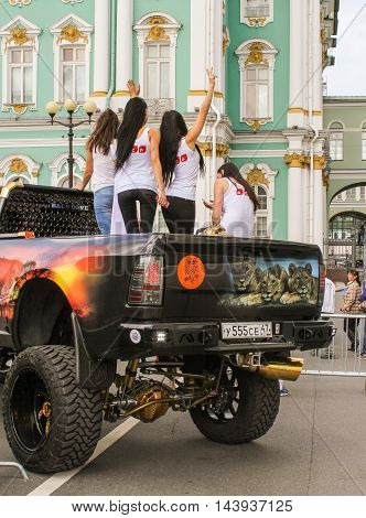 St. Petersburg, Russia - 13 August, The rear part of a larger car,13 August, 2016. The annual International Motor Festival Harley Davidson in St. Petersburg.
