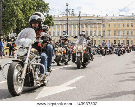 St. Petersburg, Russia - 13 August, Directions bikers column,13 August, 2016. The annual International Motor Festival Harley Davidson in St. Petersburg.
