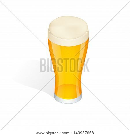 Glass of beer isolated. Beer is oldest alcoholic beverage. Flat 3d vector isometric illustration.
