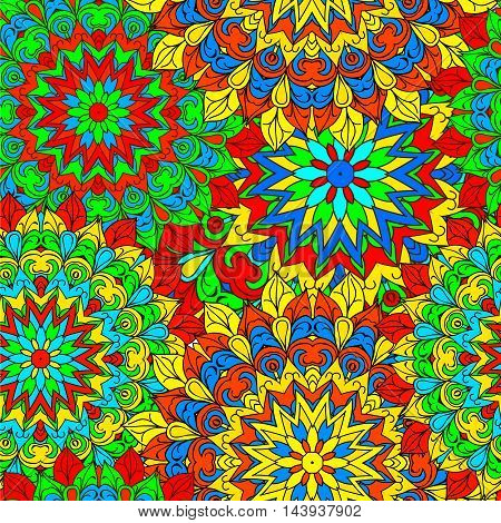Colorful seamless pattern mandala can be used for wallpaper pattern fills web page background surface textures. Arabic India Islam Asia. Happy design Pattern.