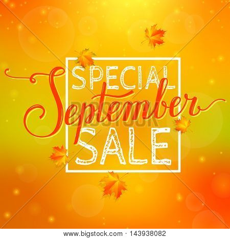 Special September sale. Blurred abstract background with discount label autumn leaves and bokeh. Vector promo banner.