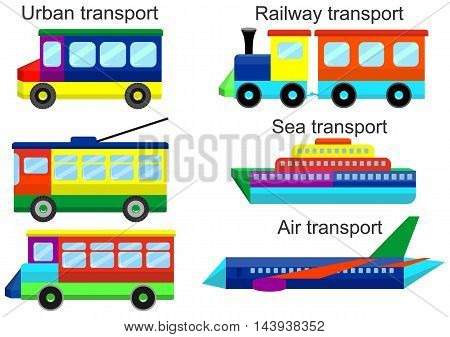 Toy set - urban, railway, sea and air transport. Bus, tram, trolleybus, train, ship, airplane. Vector illustration.
