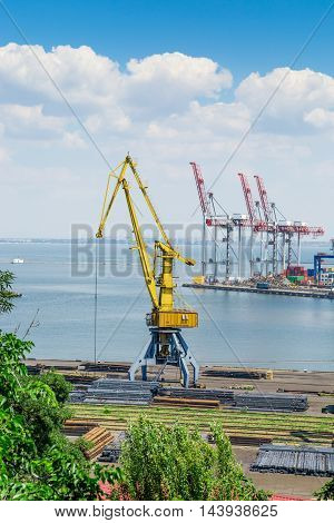 Dock machinery in industrial sea trading port