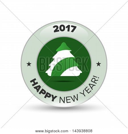 Vector green christmas tree badge with shadow on white background