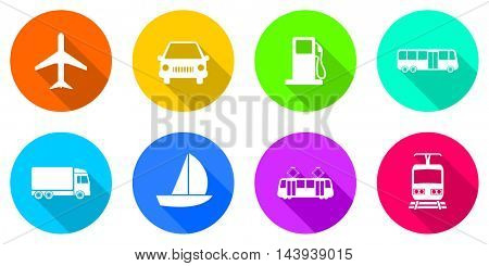 Flat design transportation vector icon set