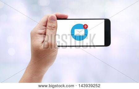 Man Hand Holding  Email Icon