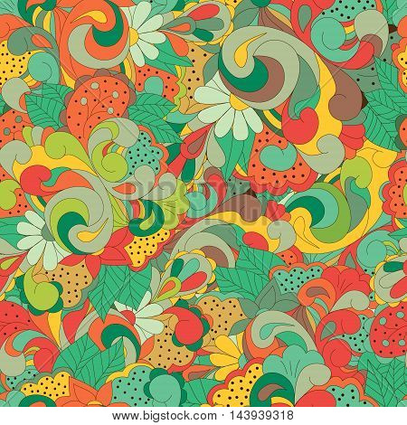 Seamless pattern with colorful swirls flowers and leaves can be used for wallpaper pattern fills web page backgroundsurface textures textiles cards postcards. Happy design pattern. Autumn design pattern.