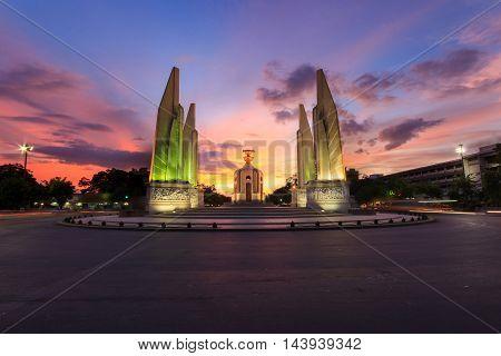 Moment of Democracy Monument at Sunset Time (Bangkok Thailand)