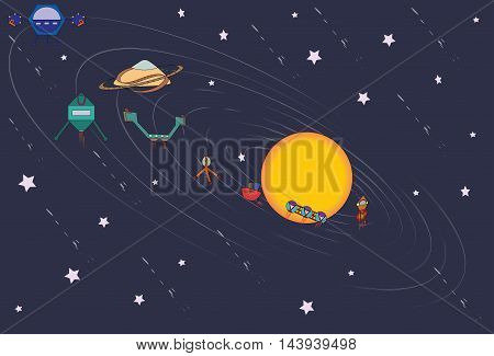 Illustration of the solar system where the planets are presented as an imaginary spaceships.