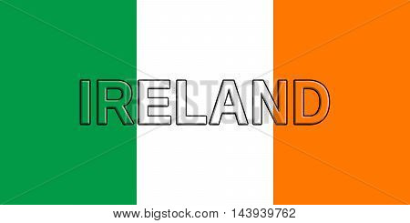Illustration of the flag of Ireland with the country written on the flag