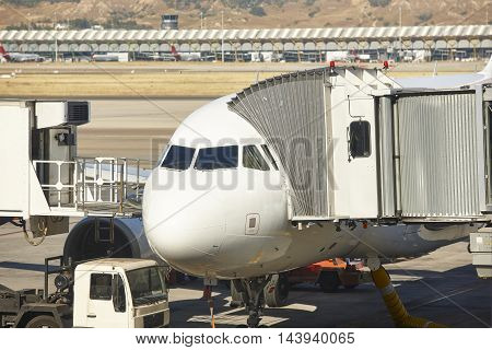Airport outdoor with airplane and finger. Travel tourism background. Horizontal