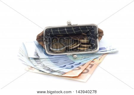 Wallet With Euro Coins And Banknotes On White Background