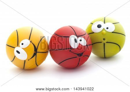 Three Colorful Toy Basketball Isolated On White Background