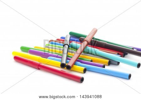 Set Of Felt-tip Pens On White Background