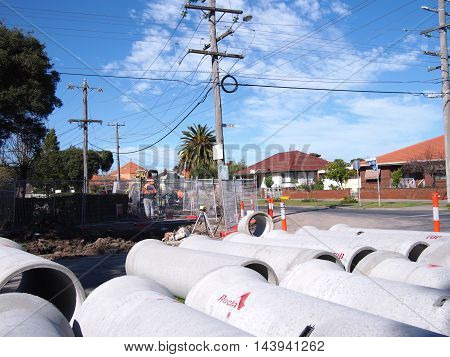 Melbourne Victoria Australia - August 15 2016: Road works with big concrete pipes.