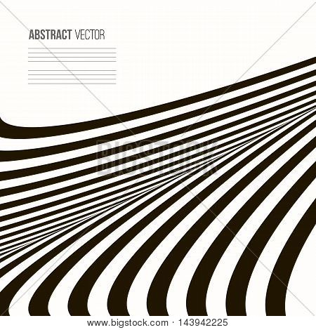 Wavy vector background. Abstract stripe Geometric pattern. Black and white texture