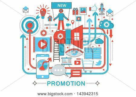 Modern Flat thin Line design Promotion promo concept for web banner website, presentation, flyer and poster