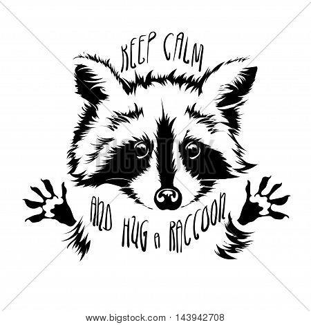 Funny and touching raccoon wants to hug and cuddle. keep calm and hug a raccoon