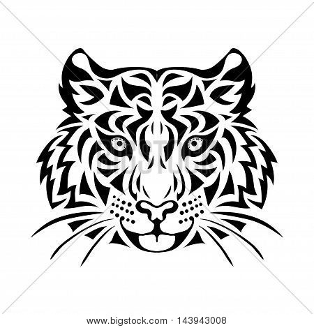 Ornamental decorative isolated black tiger's muzzle on a white background. Can be used for t-shirt poster tattoo textile element for card design. Hand drawn vector illustration