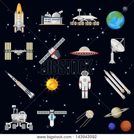Vector exploring space technology flat icon set. Elegant style design