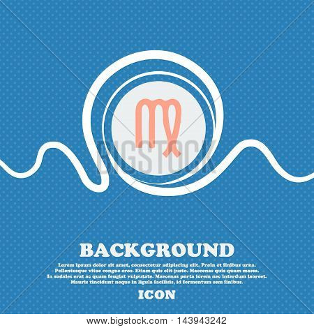 Virgo Sign. Blue And White Abstract Background Flecked With Space For Text And Your Design. Vector