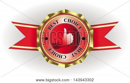vector illustration of trademark symbol with best choice ribbons, gold rim, shape of a hand and place for text