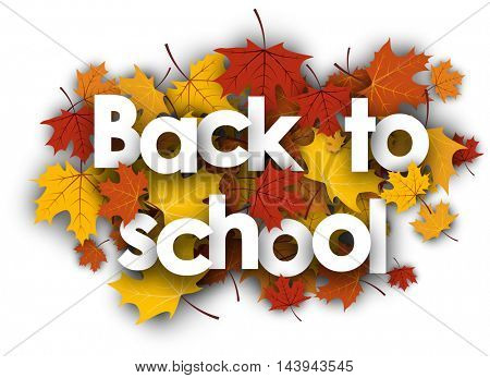 Back to school background with golden maple leaves. Vector illustration.