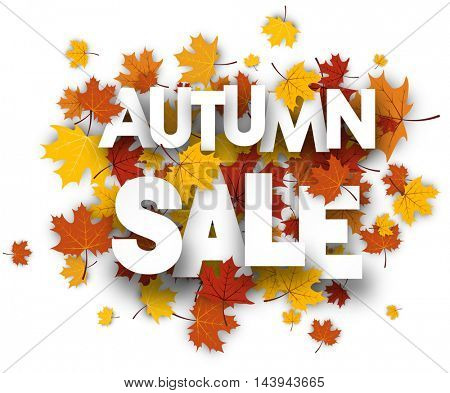 Autumn sale background with golden maple leaves. Vector paper illustration.